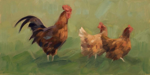 'Cockerel and Hens' oil painting by Frances Bell