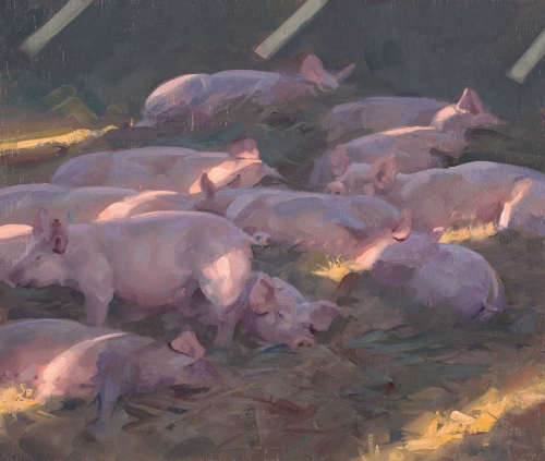 """Pigs under Sky Lights"" Oil on Board by Frances Bell"