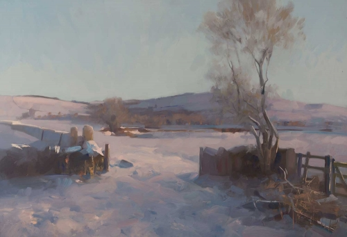 """Towards Doddington in the Snow"" Oil on Board by Frances Bell"