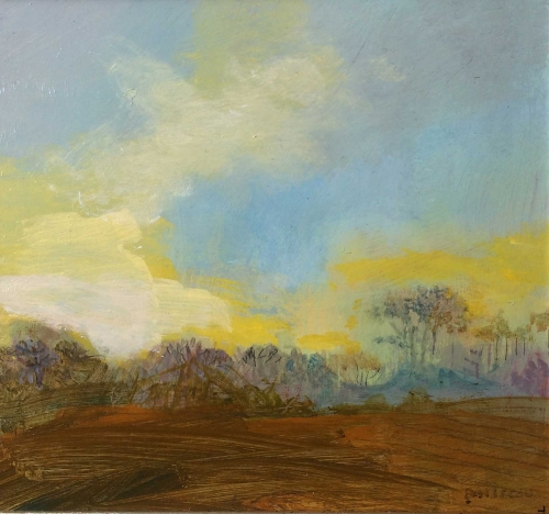"""Little Copse, Yellow Sky"" Oil on Panel by Annie Boisseau"