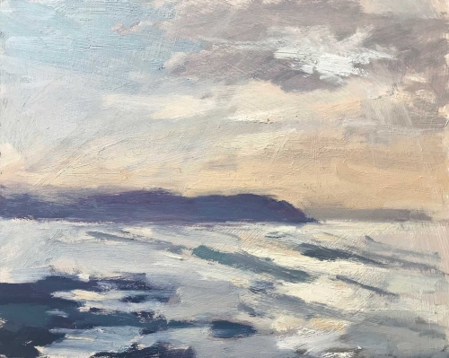 """Light Over Baggy Point, Devon"" Oil painting by Clare Bowen"