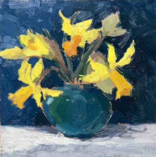 """Spring Daffodils"" Oil on Board by Clare Bowen"