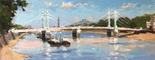 """Summer Days, Albert Bridge"" Oil on Board by Clare Bowen"