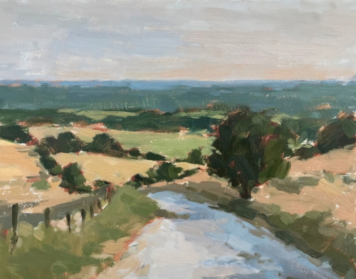 """Evening Light, The South Downs"" Oil on Board by Clare Bowen"