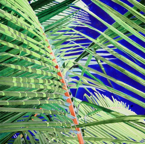 """Blue Palm 2"" Watercolour by Stephen J Bragg"