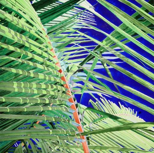 """""""Blue Palm 2"""" Watercolour by Stephen J Bragg"""