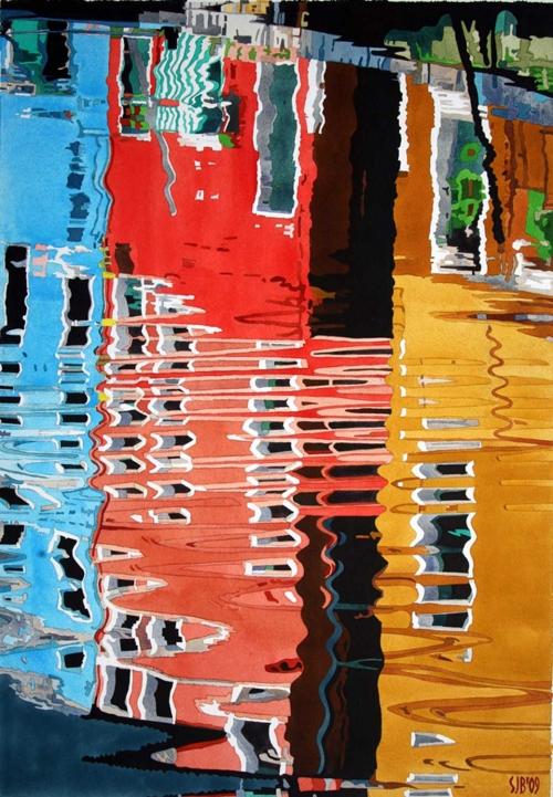 """""""Burano 2"""" Watercolour by Stephen J Bragg"""