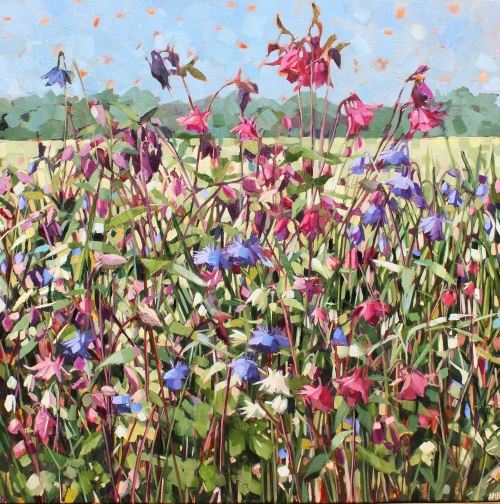 """Aquilegias"" Oil in Linen by Anne-Marie Butlin"