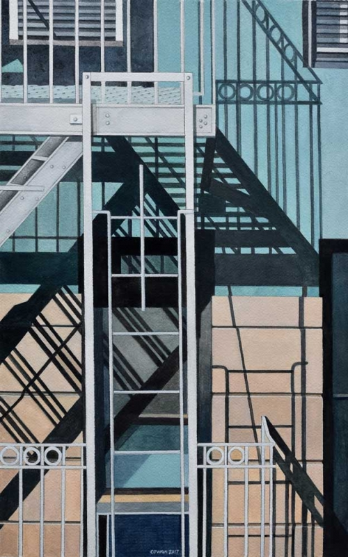 'New York Fire Escape with white ladder' watercolour painting by James Cowan