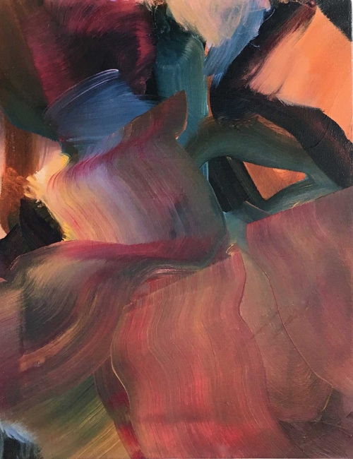 """Slider"" Abstract Oil on Canvas by Peggy Cozzi"