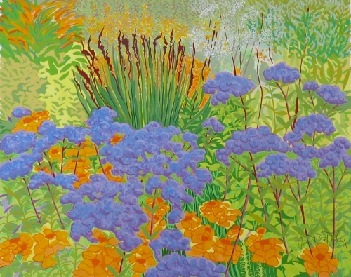 'Summer Flowers, Blue, Hall Place' gouache painting by Janet Darley