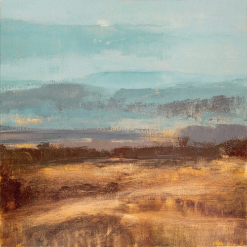 """Turquoise and Sienna Panorama"" Oil on Birch Panel by David Scott Moore"