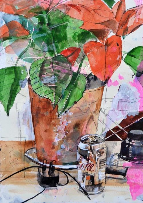 'Poinsettia Study' mixed media work by David Douglas