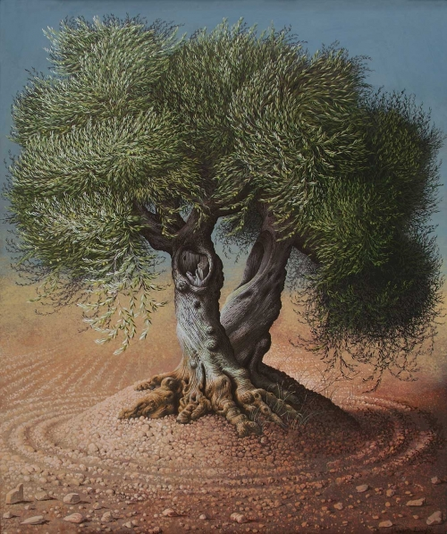 'Olive Tree III' gouache painting by Miriam Escofet