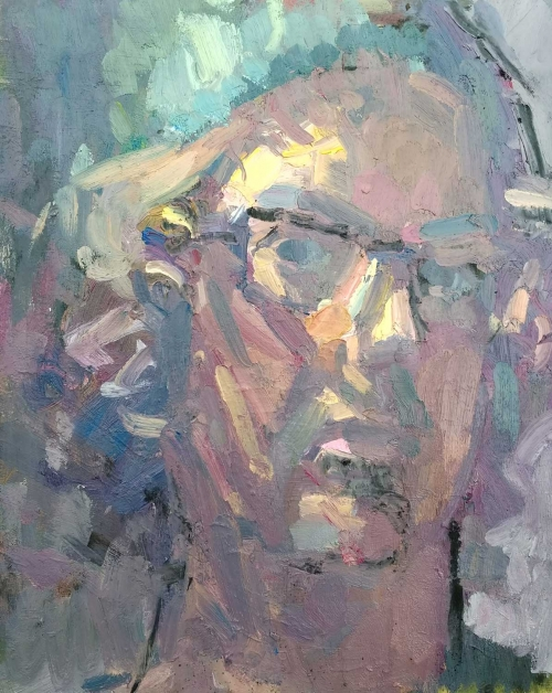 """Self Portrait 1"" Oil on Panel by Andrew Farmer"