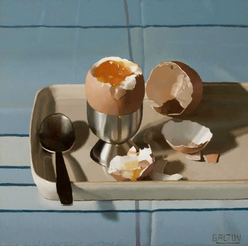 """Eggs on a Blue Background"" Oil on Board by Jeremy Galton"