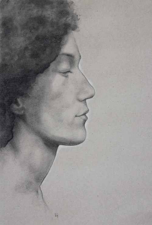 """Profile"" Charcoal and Pastel on Paper by Lucie Geffré"