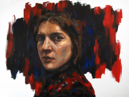 """Self-portrait in Red and Blue"" Acrylic and Oil on Canvas by Lucie Geffré"