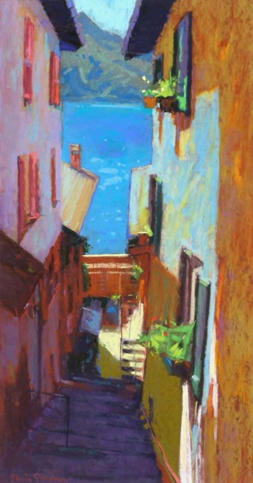 'Side Street, Varenna' pastel painting by Sheila Goodman