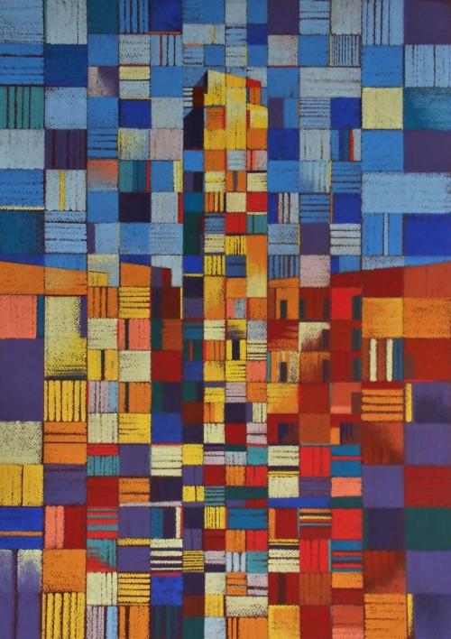 'Torre Apponale' pastel work by Martin Goold