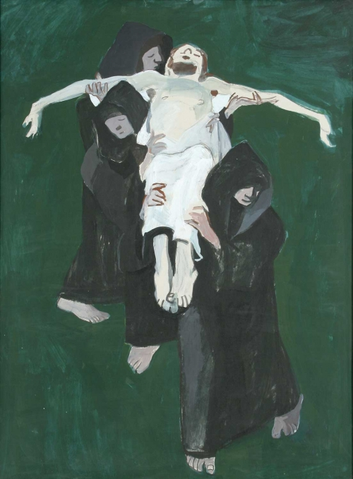 'Carrying the Crucifix' gouache painting by Alexander Goudie