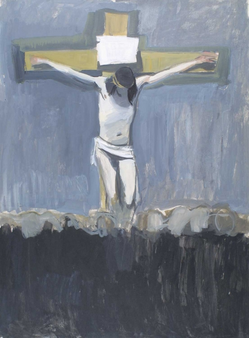 'Crucifixion' gouache painting by Alexander Goudie