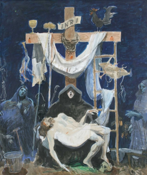 'Pieta' gouache and chalk work by Alexander Goudie