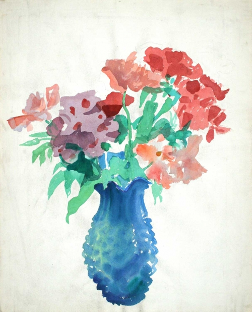 'Bouquet in a turquoise vase' watercolour painting by Alexander Goudie