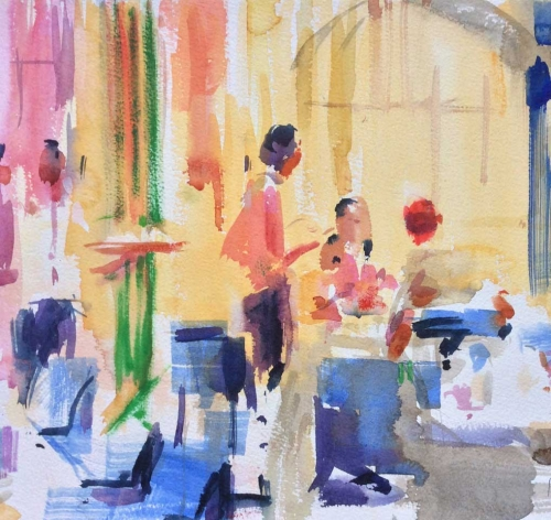 """A La Carte"" Watercolour on Paper by Peter Graham"
