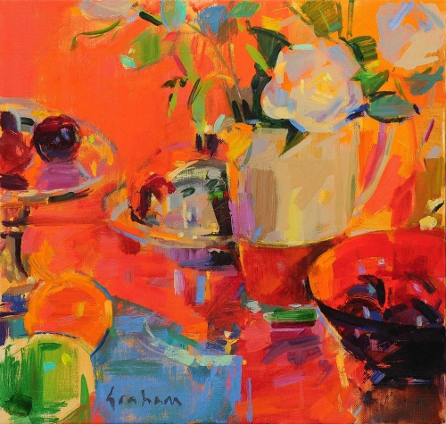 """Compotier with Silver and Fruit"" Oil on Canvas by Peter Graham"