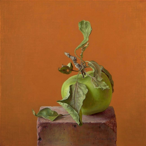 'Green Apple on a Brick' oil painting by Alex Callaway