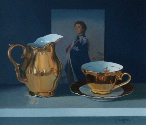 'Tea with the Queen' oil painting by Carole Griffin