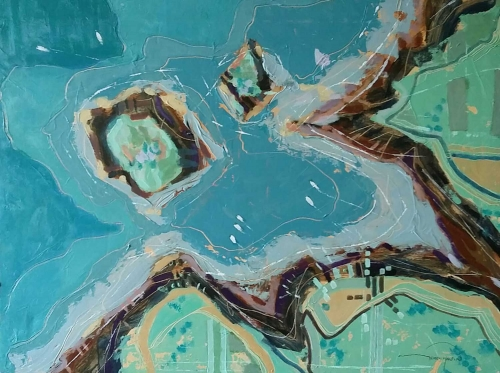 """Aerial XVIII Nr.Rosgudgeon Cornwall"" Acrylic on Canvas by Gerry Halpin"