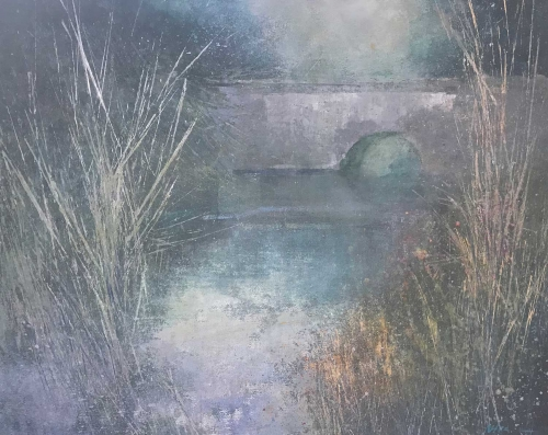 """Bridge at Pinkney"" Watercolour, Ink and Dry Pigment on Paper by Nicki Heenan"