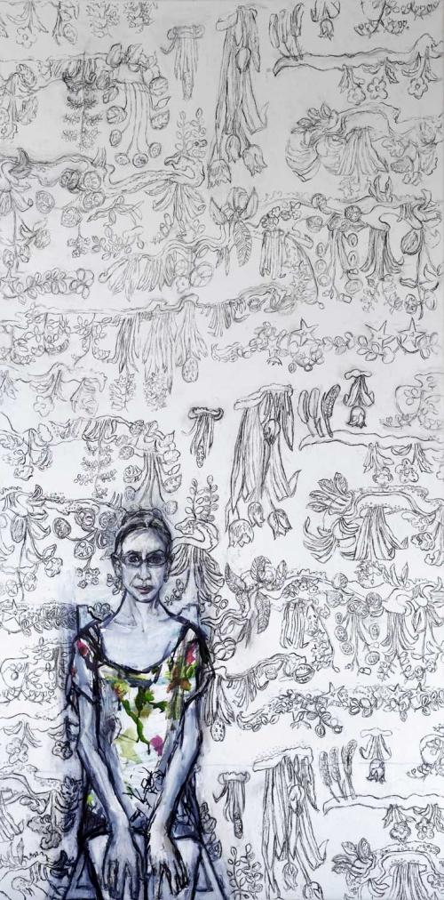 'Self Portrait' Mixed Media work by Julie Held