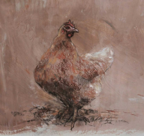 'Hen' mixed media work by Lucie Geffre