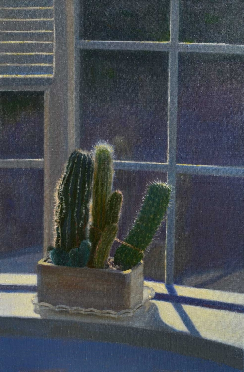 """Sunlit Cacti"" Oil on Linen by Andrew Hitchcock"
