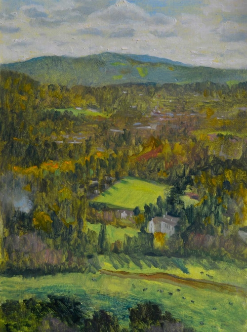 """View From Box Hill"" Oil on Panel by Andrew Hitchcock"