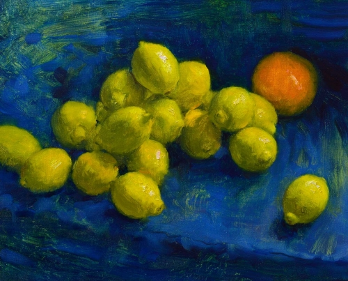 """Lemons and Grapefruit"" Oil Painting by Andrew Hitchcock"