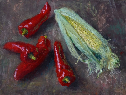 """Peppers and Sweetcorn"" Oil Painting by Andrew Hitchcock"