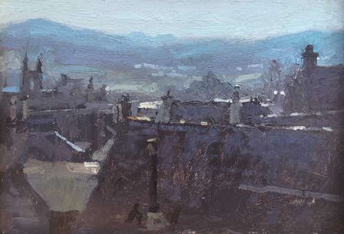 'Kingussie Rooftops #2' oil painting by Benjamin Hope