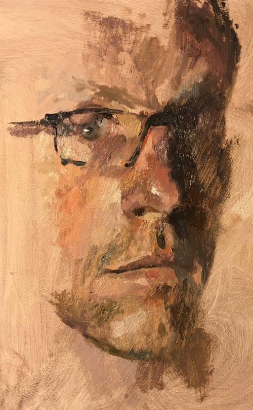 """Partial Self Portrait"" Oil on Board by Benjamin Hope"