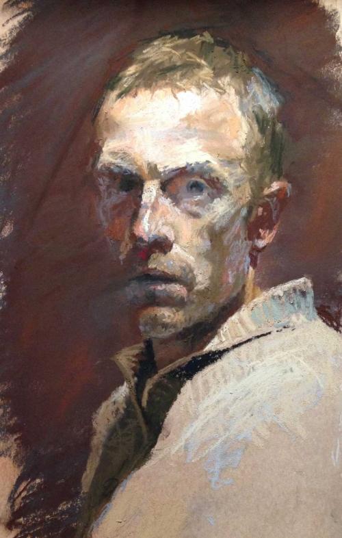 'Self-Portrait-age-37' pastel work by Ben Hope