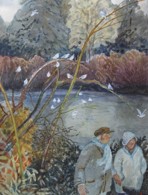 """""""Gulls in the Park"""" Watercolour & Gouache Painting by June Berry"""
