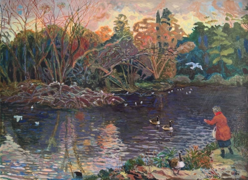 """The Lake, Winter Afternoon"" Oil Painting by June Berry"