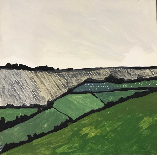 'Green Land' egg tempera work by Andrew Lansley