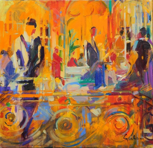 'London Menu' oil painting by Peter Graham ROI