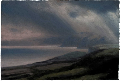 Matthew Draper Last Light, Jurassic Coast Pastel Art for Sale