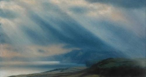 Mathtew Draper Passing Rays Jurassic Coast Pastel Art