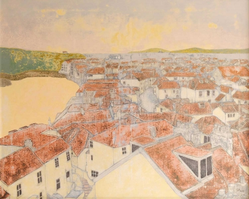 """St Ives Rooftops"" Acrylic on Canvas by Stephen Parkinson"